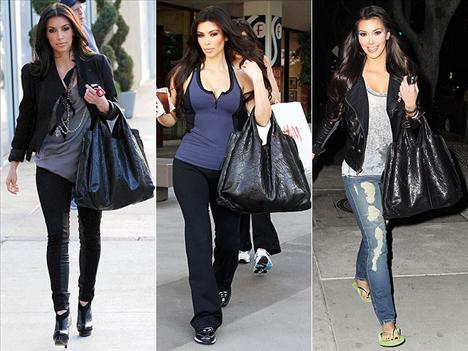 Spora, alışverişe ya da arkadaşlarıyla eğlenmeye gidiyor olması fark etmiyor. Kim Kardashian favori çantası olan Givenchy by Riccardo Tisci XXL hobosunu yanından hiç ayırmıyor.