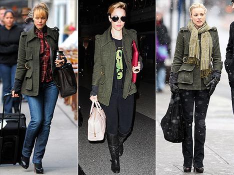 Rachel McAdams'ın soğuk kış günlerinde en büyük yardımcısı Smythe's marka Surplus model ceketi oldu.