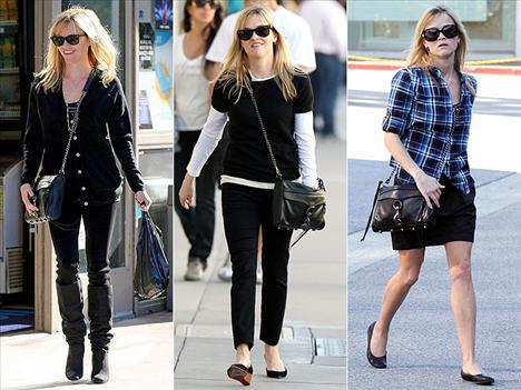 Reese Witherspoon ise Rebeca Minkoff'un Morning After Clutch çantasından vazgeçemiyor.