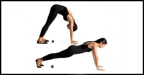 1- Hand walks Baldır ve dizler çalışıyor.   Bacakları kalça genişliğinde iki yana açarak kolları da iki yanına al. Ellerini omuz genişliğinde açarak öne eğil ve avuçlarını yere koy. Ellerini bacaklarına mümkün olduğunca yaklaştırırken dizlerini kırmamaya çalış (A). Ellerinle birkaç cm öne doğru ilerle ve plank pozisyonuna geç (B). Ayaklarını da biraz daha arkaya alarak bacağını düzleştir. Hareketi dört-beş defa tekrarla.
