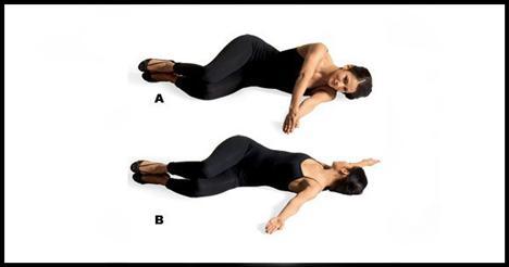 2- 90-90 Göğüs, sırt ve oblikleri çalıştırıyor.   Omuz, kalça ve dizler aynı hizaya gelecek şekilde sol yanına doğru yere yat. Her iki kolunu da omuz hizasında öne doğru uzat ve avuçlarını bitiştir (A). Sol kolunu ve bacaklarını aynı pozisyonda tutarak sağ kolunu sağ yana doğru aç ve yere koy, sırt ve sağ elin yere değmeli (B). Sağ kolunu başlangıç noktasına geri getir, hareketi beş-altı defa uyguladıktan sonra bu sefer de diğer taraftan tekrarla.