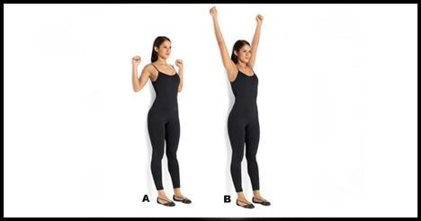 4- Standing scapular wall side Yüzmeden sonra göğüs ve sırt kaslarını esnetmelisin.   Sırtın duvara dönük, kafanı, sırtını ve kalçalarını duvara daya. Dirseklerini 90 derece kırarak iki yana aç. Ellerin omuz hizasında olmalı. Kollar duvara değerken, dirsekleri mümkün olduğunca aşağı indirmeye çalış (A). Pozisyonu bir saniye koruduktan sonra bu sefer de kollarını yukarı kaldır. Kollar duvara bitişik olmalı (B). Kollarını duvara bitişik tutmakta zorlandığın anda tekrar başlangıca dön. Hareketi 8-10 defa tekrarla.