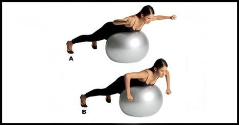 7- Swiss ball shoulder rotation Bir egzersiz topunun üzerine yüzüstü yat ve bacaklarını dümdüz arkaya doğru uzat. Bacaklarını omuz genişliğinden biraz daha fazla açmalısın. Dirsekleri 90 derece kır, pozisyonu hareket esnasında sakın bozma. Kollar omuz hizasında iki yana açılmalı, eller ise yumruk şeklinde ileriye bakmalı (A). Kollarını dirseklerden döndürerek yumrukları aşağı doğru getir (B). Başlangıca dön ve hareketi 8-10 defa tekrar et.