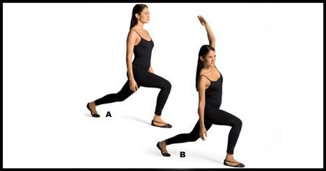 8- Reverse lunge with lateral trunk flexion Softball, basketbol veya tenis oynadıktan sonra gövde, kalça ve obliklerini esnetmelisin.   Bacakları kalça genişliğinde açarak pozisyon al. Sol bacağınla arkaya doğru geniş bir adım at ve sağ baldır yere paralel olacak şekilde bir hamle yap (A). Sol kolunu havaya kaldırarak gövdenle sağa doğru eğil (B). Sol ayağınla öne hamle yaparken de sol kolunu tekrar aşağı indir. Hareketi sağ kolunla da tekrar et ve hareketi dört-beş defa uygula.