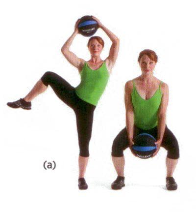 Kol, gövde ve tüm alt gövdeyi çalıştırıyor.  Eline küçük bir egzersiz topu alıp bacaklarını omuz genişliğinde aç. Yere çömel (a). Sağ dizini kırıp kalçanı döndür. Sağ bacağı iyice yukarı kaldırırken sol bacağın üstünde denge kurmalısın. Elindeki topu saat yönünde döndür. Top omuz hizasına gelince üst gövdeni sağa çevir (b). Başlangıca dön. 12-15 tekrarlık üç set uygula.
