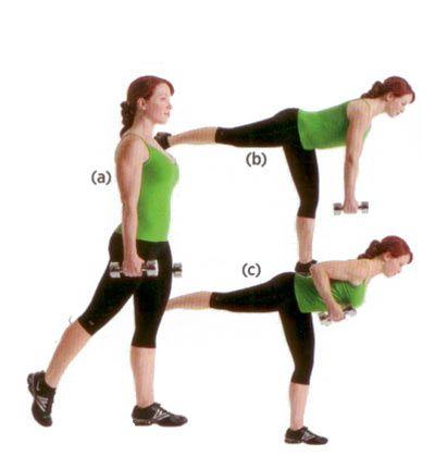 Omuz ve gövdeyi çalıştırıyor.   Ellerine bir çift üç kilogramlık dambıl alıp plank pozisyonuna geç (a). Karın kaslarını sıkıp sağ kolunu öne doğru esnet (b) Plank pozisyonuna geri dönüp hareketi sağ kolunla tekrar et, 12-15 tekrarlık üç set uygula.