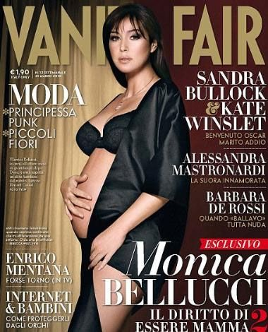 Bellucci yine yaptı... Beyazperdenin en seksi yıldızlarından Monica Bellucci 45 yaşında ve ikinci çocuğuna hamile. İlk çocuğu Deva'ya hamileyken Vanity Fair dergisi için yarı çıplak pozlar veren Bellucci, aynı şeyi ikinci kez yaptı. Ünlü yıldız yine Vanity Fair için objektif karşısına geçti ve hamile pozu verdi.