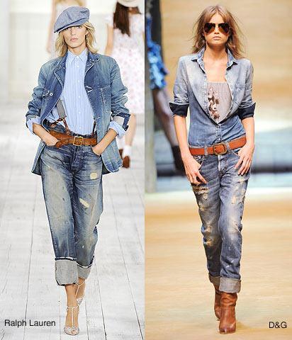 5. Denim+denim Bir süredir denim gömlekleri, ceketleri, çantaları unutmuştuk. Jean ile jean'i kombinlemenin kötü olduğu günlerin sonuna gelmiş bulunuyoruz. Jean pantolonun üzerine jean ceket giymek sezonun taze trendleri arasında.