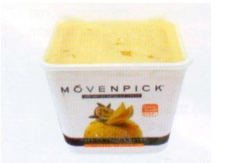 Mövenpick Mangolu Sorbe Dondurulmuş lezzetlerden biri de, kalori yönünden daha düşük olan sorbeler. Mangolu sorbede mango ve çarkıfelek meyvesi parçaları kullanılmış.  100 gr'da Enerji: 143 kcal. Yağ: 0.2 gr. Protein: 1 gr.