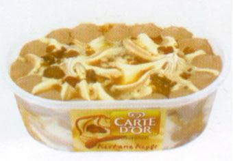 Carte D'Or Kestane Keyfi Vanilya aromalı bitkisel yağlı dondurma, kestane şekeri parçacıkları içeriyor. 530 gramlık kutularda satışa sunuluyor.  100 gr'da Enerji: 200 kcal. Yağ: 7.9 gr. Protein: 2.9 gr.