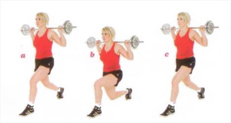 LUNGE Kalça, bacak ve karın bölgesini çalıştırıyor.  İki bacağını ayırabildiğin kadar birbirinden ayır. Sol ayağın önde tam basarken, sağ ayağın parmak üstünde dursun. Halteri sırtına denk gelecek şekilde tut (a). Pozisyonunu koruyarak eğilebildiğin kadar eğil. Vücudunun düz duruşu bozulmasın (b). Başlangıç pozisyonuna geri dön (c). Sağ bacak ve sol bacak 16 tekrar yap.