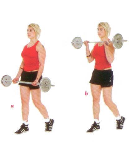 BARBEL LCURL Ön kol ve karın bölgesini çalıştırıyor.  Bacakların omuz genişliğinde açık olsun. Halteri aşağıda tutarken sağ bacağını bir adım geriye at (a). Pozisyonu korurken halteri omuzlarına kadar kaldır (b). Hareketi 16 kere tekrarla.