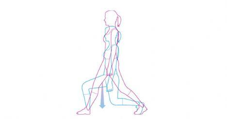 Split squat   Kalça ve baldırları çalıştırır. Bacaklarını omuz genişliğinde aç ve kollarını da ya iki yanına ya da kalçana koy. Sol ayağını arkaya at ve sağ dizini 90 derece kırıncaya kadar yere çömel. 30 saniye boyunca aşağı çömelip doğrulmaya devam et ve sonra da hareketi sağ ayağını arkaya alarak tekrarla.