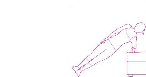 Squat thrusts  Tricep, göğüs, baldır ve kalçanı çalıştırır.  Bacaklarını kalça genişliğinde aç ve yere çömelerek ellerini tam ayaklarının önüne koy. Bacaklarını zıplayarak geriye doğru getir ve şınav pozisyonuna geç. Bir şınav çektikten sonra tekrar zıplayarak bacaklarını öne getir ve ayağa kalk. Hareketi 30 saniye boyunca yapabildiğin kadar tekrarla, bir dakika dinlendikten sonra hareketi 30 saniye daha yapmalısın.
