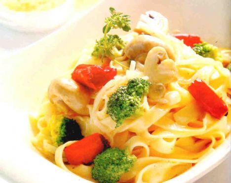 Brokolili makarna  Malzemeler:  1 paket fettucini makarna, 1 kase küçük parçalara ayrılıp, haşlanmış brokoli, 1 kase ikiye bölünmüş mantar, 1 adet orta boy soğan, 2 adet iri doğranmış kırmızı çarliston biber, 2 diş sarımsak, 1 çay bardağı krema,  Yarım çay bardağı rendelenmiş parmesan peyniri, Yarım çay bardağı zeytinyağı, Tuz, karabiber, kırmızı biber,  Yapılışı:   Makarnayı kaynar suda 6 -7 dakika haşlayın. Bir tencereye yağı koyup sırasıyla soğan, sarımsak, mantar, brokoli, kırmızı biberi de ekleyerek kavurun. Kremayı da kattıktan sonra 4-5 dk kaynatın. Bu karışıma makarna, tuz ve baharatları da ilave ettikten sonra üzerine parmesan peyniri ekleyerek makarnanızı servise hazır hale getirin.