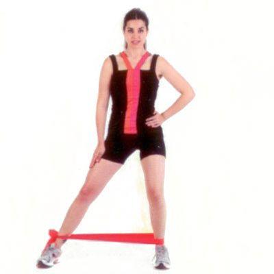 Dikey düzlemde bacak yana açış Bacaklarınızı kalça hizasında açarak dik bir şekilde durun. Egzersiz bandını bağlayıp bileklerinize geçirin. Bir bacağınız sabit dursun, diğerini yana doğru açıp kapatın. Bantın gergin olmasına dikkat edin.