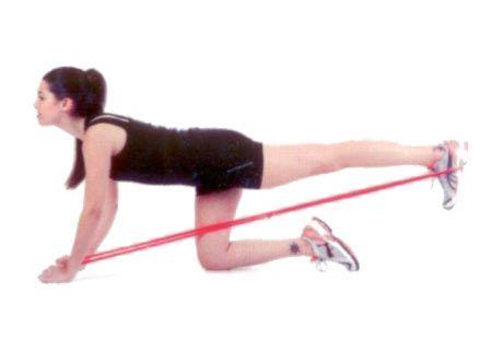 Geriye bacak itme Egzersiz bandını bağlayıp ellerinizle tutun ve ayağınızdan geçirin. Bir diziniz yerde, bandın bulunduğu bacağı geriye doğru itin. Bacağınız kalçanız ve sırtınızla düz bir çizgi oluşturacak şekilde uzasın. Dizinizi büküp bacağı öne çekin, sonra tekrar geriye itin.