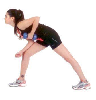 Tek dambıl yukarı çekiş Sağ bacağınızla öne doğru genişçe bir adım atarak sağ solunuzu bacağınıza yaslayın ve öne doğru eğilin. Sol dirseğinizi bükün ve dambılı vücudunuza yakın bir şekilde ovucunuz içe bakacak şekilde tutun. Kolunuzu yana açmadan, geriye doğru dambılı çekin ve uzatın.