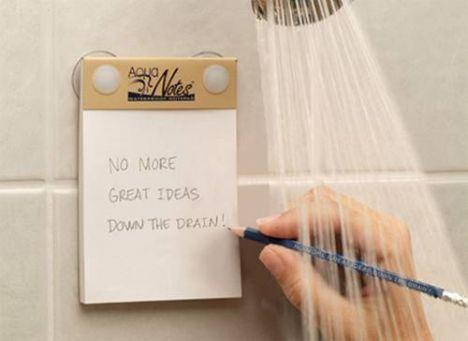 Duş alırken aklınıza gelenleri not etmek için suya dayanıklı notluk...