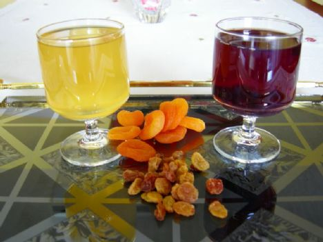 KURU ÜZÜM HOŞAFI   Malzemeler:   250 gr kuru üzüm, 2 su bardağı şeker, 5-6 bardak su.   Yapılışı:   Kuru üzümlerin saplarını ayıkladıktan sonra iyice yıkayın. Üzümleri bir tencereye koyarak üzerine 5-6 bardak su ilave edin. Kuru üzümler hafif yumuşayıncaya kadar pişirin. İki su bardağı şekeri tencereye ilave ettikten sonra bir iki taşım daha kaynatıp, ateşten alın. Soğuk olarak servis yapın.