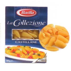Barilla La Collezione Castellane Enerji 350 kcal.  Protein 12 gr.  Karbonhidrat 72.2 gr.  Lif 3 gr.  Yağ 1.5 gr.  Fiyatı: 3.89 TL. (500 gr.)