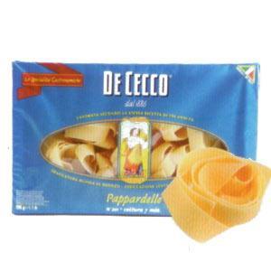 De Cecco Pappardelle Enerji 346 kcal.  Protein 13 gr.  Karbonhidrat 70.2 gr.  Lif 2.9 gr.  Yağ 1.5 gr.  Fiyatı: 5.95 TL. (500 gr.)