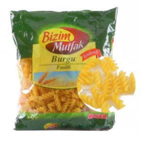 Bizim Mutfak Burgu Makarna Enerji 355 kcal.  Protein 10.6 gr.  Karbonhidrat 76 gr.  Yağ 1 gr.  Fiyatı: 0.99 TL. (500 gr.)