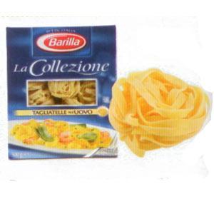 Barilla La Collezione Tagliatelje (Yumurtalı)  Enerji 360 kcal.  Protein 14 gr.  Karbonhidrat 68.1 gr.  Lif 3 gr.  Yağ 3.5 gr.  Fiyatı: 5.49 TL. (500 gr.)