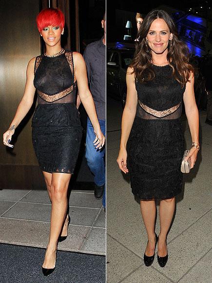 Bu yarı transparan Stella McCartney elbiseyi hem Rihanna hem de Jennifer Garner giymişti.
