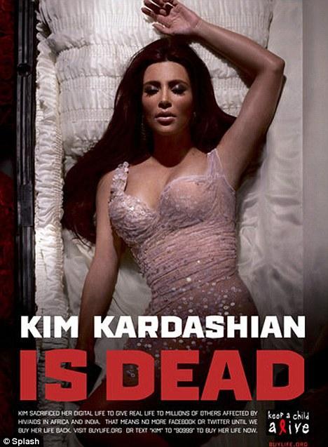 Ermeni asıllı Amerikalı TV yıldızı Kim Kardashian yeni reklamında bir ölüyü oynuyor.   Yıldız proje için sanal alemdeki tüm hesaplarını da kapatacak.  Ünlülerin sosyal medya hesaplarını donduracağı kampanyanın afişinde Kim Kardashian tabutta ölü olarak yatıyor.