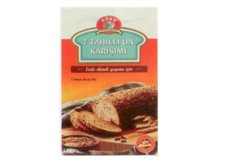 Söke 7 Tahıllı Un Karışımı Tam buğday, yulaf, çavdar, arpa ve pirinç unu ile keten tohumu, ay çekirdeği, susam, koyu malt unu, çavdar ekşisi, askorbfk asit (antioksidan) içeriyor. Ambalajın içeriğinde iki paket maya da bulunuyor. Markanın diğer ekmek karışımları ise şöyle: Vitaminli, Ruşeym İlaveli, Geleneksel, Yulaf, Tam Buğday, Köy Ekmeği.  Enerji 379 kcal. Karbonhidrat 67.86 gr. Yağ 5.61 gr. Protein 14.34 gr. Lif 11.4 gr.