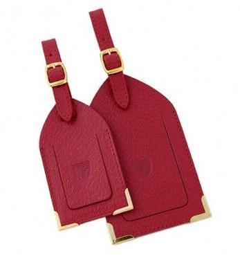 Aspinal kırmızı deriden valiz etiketleri