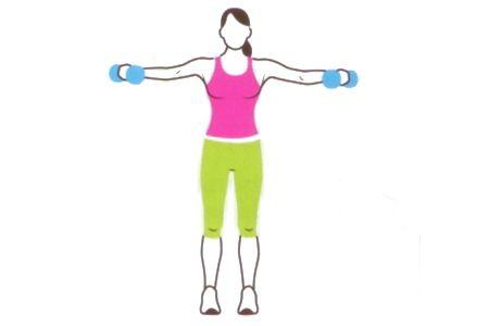 2 ISOMETRIC LATERAL RAISE Her iki eline iki kilogramlık bir dambıl alıp bacaklarını omuz genişliğinde aç. Avuçların iç tarafa doğru bakmalı. Dambılları yavaşça kaldırınca, kollar omuzlarla paralel olmalı. Pozisyonu koru.