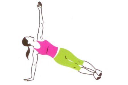 3 T-STABILIZATION Şınav pozisyonundayken ağırlığını sağ eline verip göğsünü sol tarafa döndür, sol kolunu da yukarı kaldır. Bacaklar birbirine bitişik olmalı. Pozisyonu koruyup tekrar başlangıca dön ve hareketi diğer taraftan tekrarla.   DİKKAT T harfi: Vücudun düz bir çizgi oluştururken kollar omuzlarla paralel olmalı.