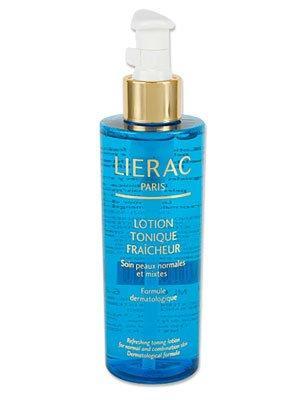 Aşırı yağlanmaya neden olmadan cildi temizleyen ve nem dengesinin korunmasına yardımcı tonik.  Lotion Tonique Fraicheur tonik, 58 TL, Lierac