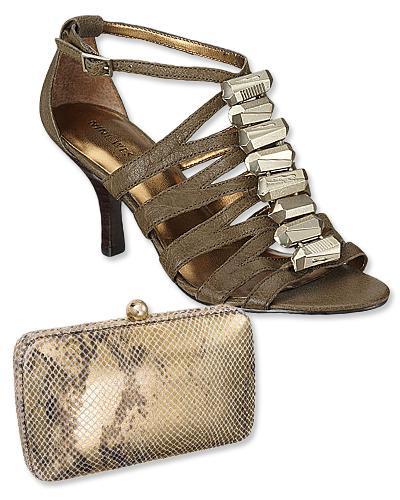 2. Tory Burch portföy çanta ve Nine West taşlarla süslenmiş sandaletler.