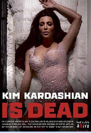 Ermeni asıllı Amerikalı TV yıldızı Kim Kardashian bir reklam filminde bir ölüyü oynamıştı. Ünlülerin sosyal medya hesaplarını donduracağı kampanyanın afişinde Kim Kardashian tabutta ölü olarak yatmıştı.