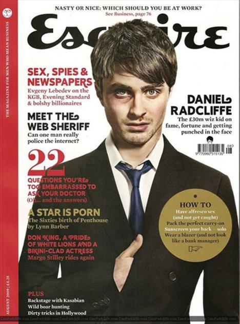 Esquire'in kapak çekimleri için neden Daniel Radcliffe'in gözünü morarttığı ve burnunu kanattığı hakkında pek fikir sahibi değiliz.