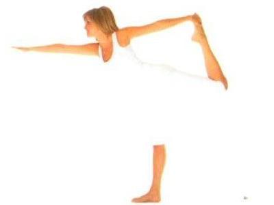 Nataracasana  2 •Ayakta dik bir şekilde durun. Nefes alırken, sol kolunuzu kaldırın ve verirken, sol kolunuzu yere paralel olacak şekilde tutun.  •Nefes alırken, sağ bacağınızı yerden kaldırın ve sağ dizinizi bükün.  •Nefes verirken, sağ ayak bileğinizi sağ elinizle bedenin arkasında tutun.  •Nefes alın ve verirken, sağ bacağınızı geriye ve yukarıya doğru çekin.