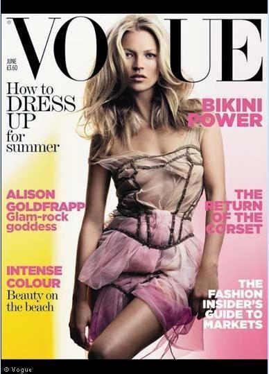Moda ikonu Kate Moss'un yıllar içinde yüzü olduğu Vogue kapakları ve değişimi.