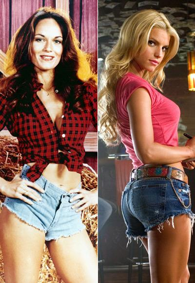 Catherine Bach ve Jessica Simpson in The Dukes of Hazzard, 1979 and 2005