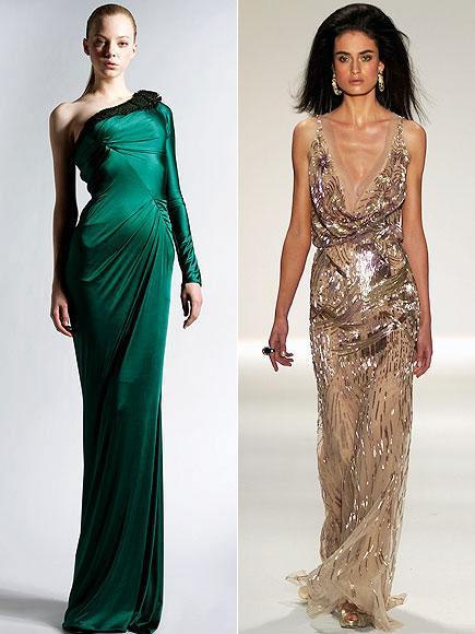 Kırmızı halıda Jennifer Lopez'in tercih edebileceği elbiseler arasında tek omuzlu yeşil Zahir Murad ve derin göğüs dekolteli, parıltılı Naeem Khan var.