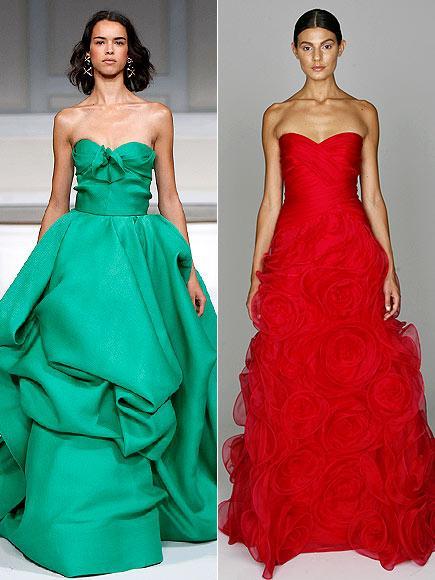 Genç yıldızın sevebileceği tuvaletler arasında yeşil, kabarık etekli ve straplez Oscar de la Renta ve benzer modellerdeki kırmızı Monique Lhuillier var.