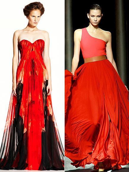 Kızıl saçları ve açık renk tenine çok iyi uyum sağlayacak kırmızı renkleri tercih edebilir güzel aktris. Seçenekleri arasında straplez, floral desenli Alexander McQueen ve tek omuzlu Lanvin var.