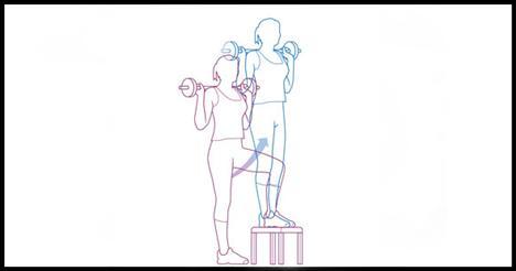 Stepup  Gövde, kalça ve dizleri çalıştırıyor.  Yedi kilogramlık bir barbeli kavrayarak yarım metre yüksekliğinde bir sehpanın önünde dur. Barbeli dikkatlice kaldırıp kürek kemiklerinin üstünde tutarken bilek ve dirsekler aynı hizada olmalı. Sağ ayağını sehpaya koy. Sağ bacağını düzeltirken kalçanı sık. Sol bacağını yerden kaldır. Sağ diz kalça hizasında olsun. Sol ayağını sehpaya koy. Önce sol sonra sağ ayağını yeniden yere koy. Tekrar başlangıca dön ve hareketi sol bacakla başlayarak tekrarla.