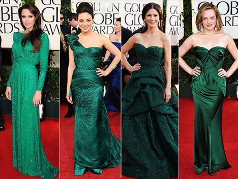 Yeşil gecenin en popüler renklerinden biriydi. Ünlü yıldızlar Angelina jolie, Mila Kunis, Cathrine Zeta Jones ve Elizabeth Moss kırmızı halıda yeşil elbiseleriyle boy gösterdiler.