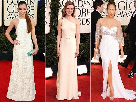 Beyaz ve taşlarla süslü elbiseler ünlü yıldızlar Nicole Kidman ve Jennife Lopez'in tercihiydi.