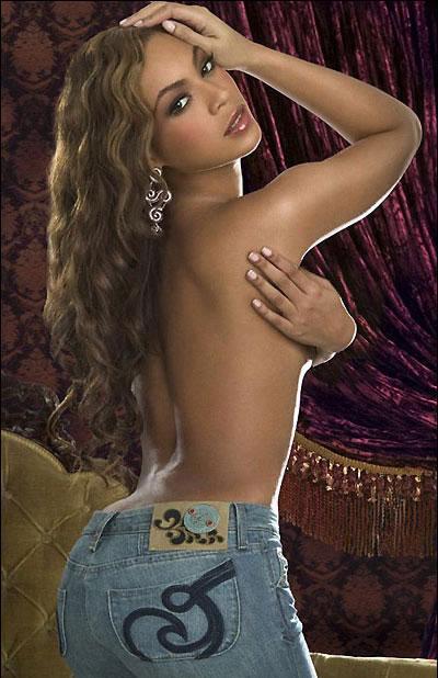 Beyonce, kendi kot pantolonlarını pazarlamak için üstsüz kaldı.