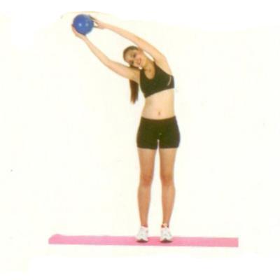 Gövdeyi yana esnetme Ayakta, omurganız düz bir hat üzerinde olacak şekilde durun. Mini topu ellerinizin arasına alın, en alt kaburganızdan yukarısını, hafif yana doğru esneterek 20 -30 saniye bu pozisyonda bekleyin. Diğer yana doğru hareketin simetrisini tekrarlayın.