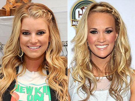 Örgünün havası Jessica Simpson ve Carrie Underwood platin saçlarına örgü ile hava vermişler